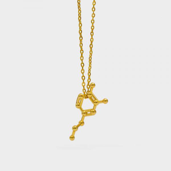Dopamine Molecule Necklace 3D Gold