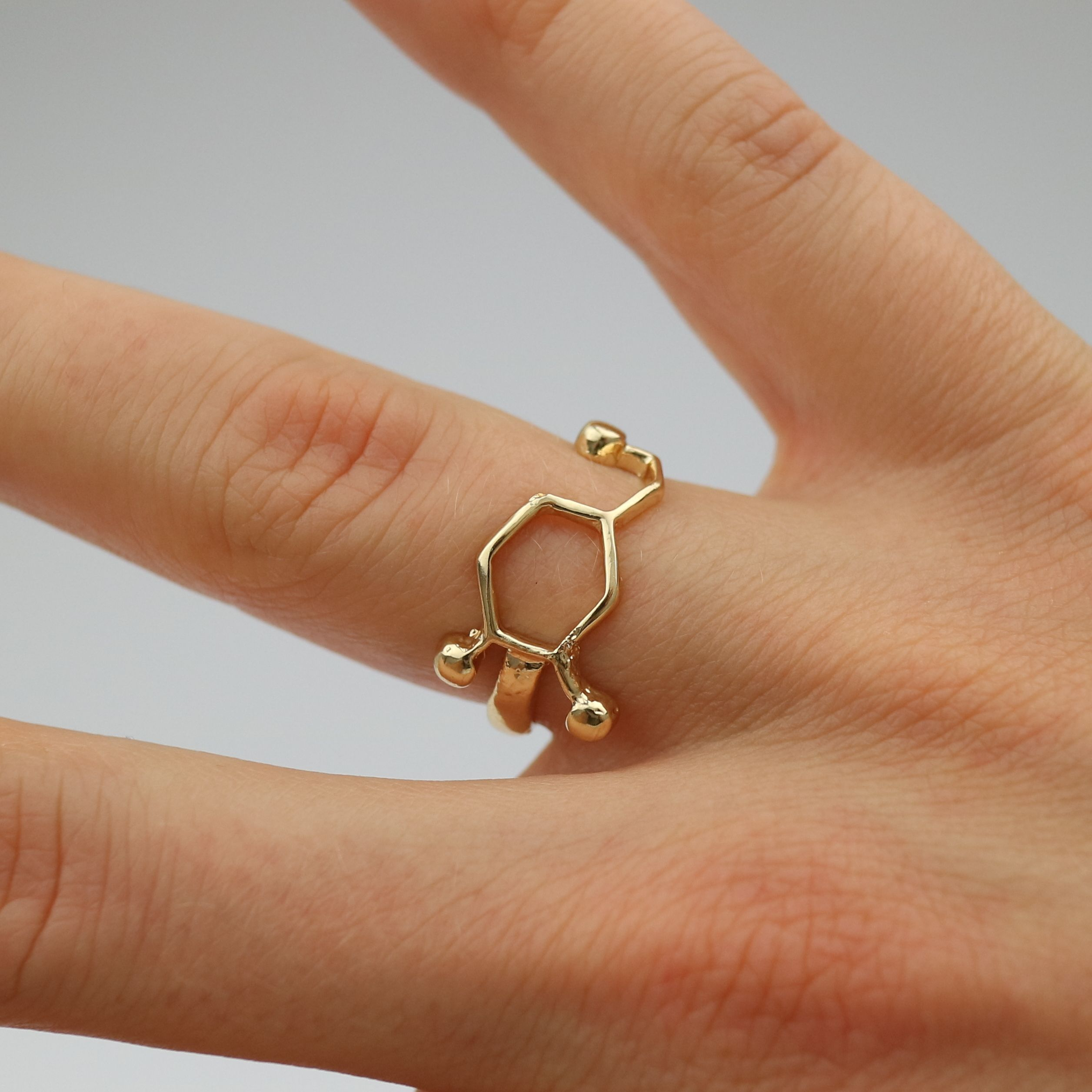 Dopamine Molecule Ring Model Gold