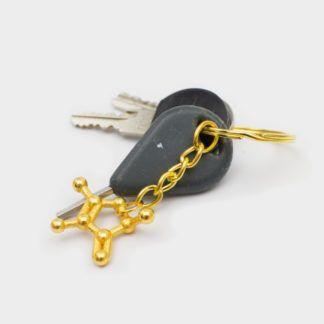 Furaneol Molecule Keychain 3D Gold Steel