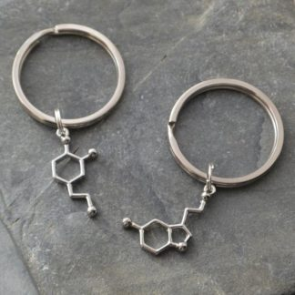 Serotonin + Dopamine Molecule Keychains