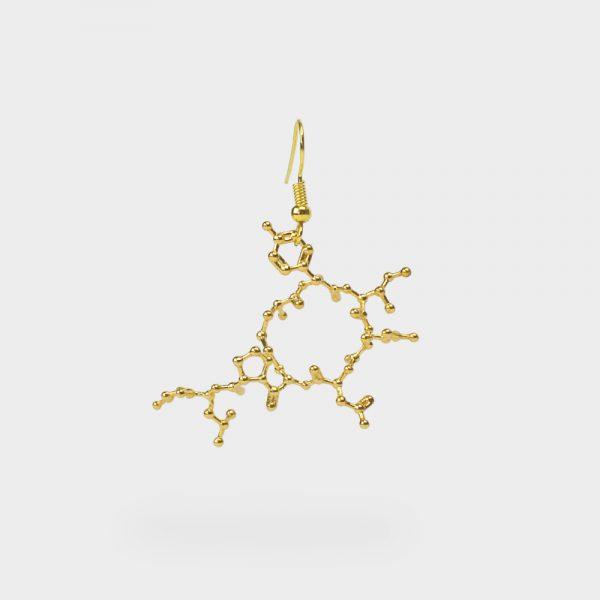 Oxytocin Molecule Earring 3D Gold