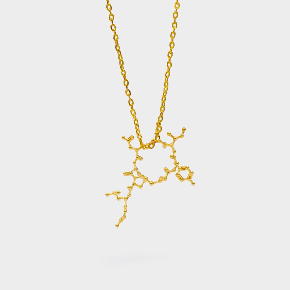 Oxytocin Molecule Necklace 3D Gold