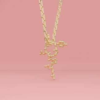 Oxytocin molecule necklace gold 1 crop