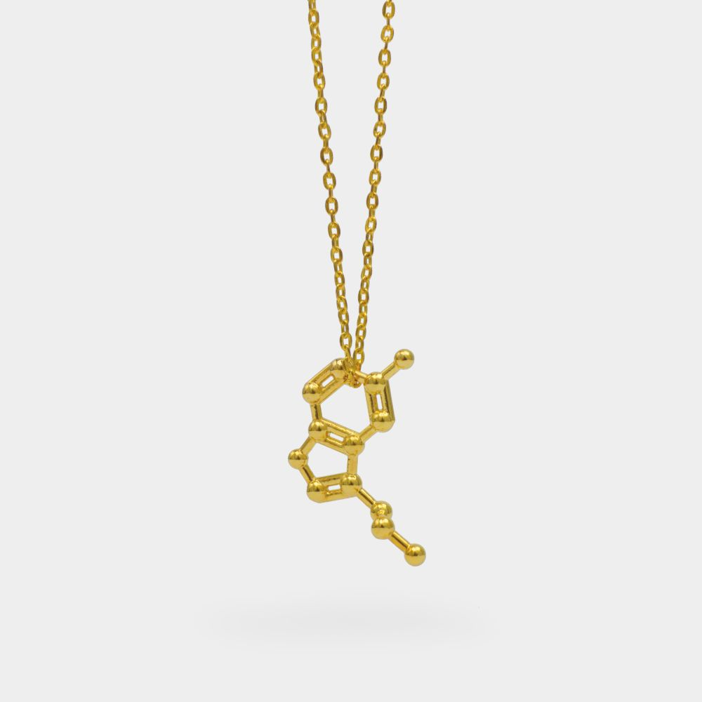 Serotonin Molecule Necklace 3D Gold