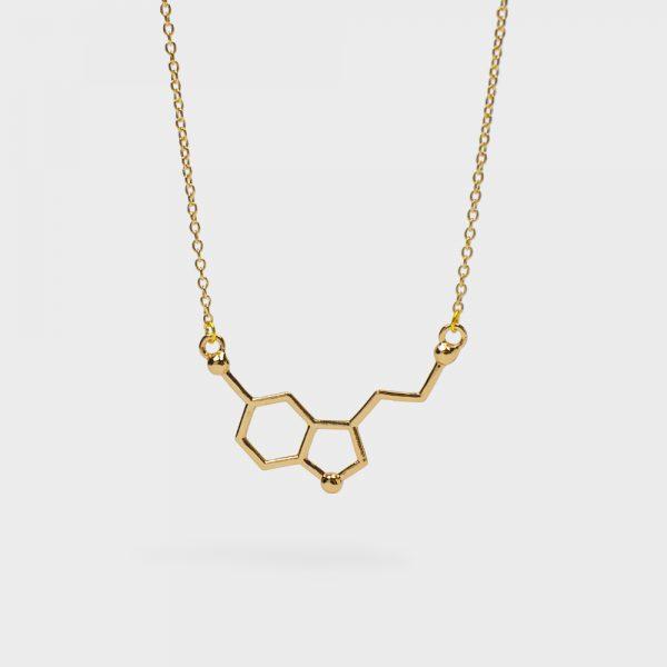 Serotonin Molecule Necklace Flat Gold