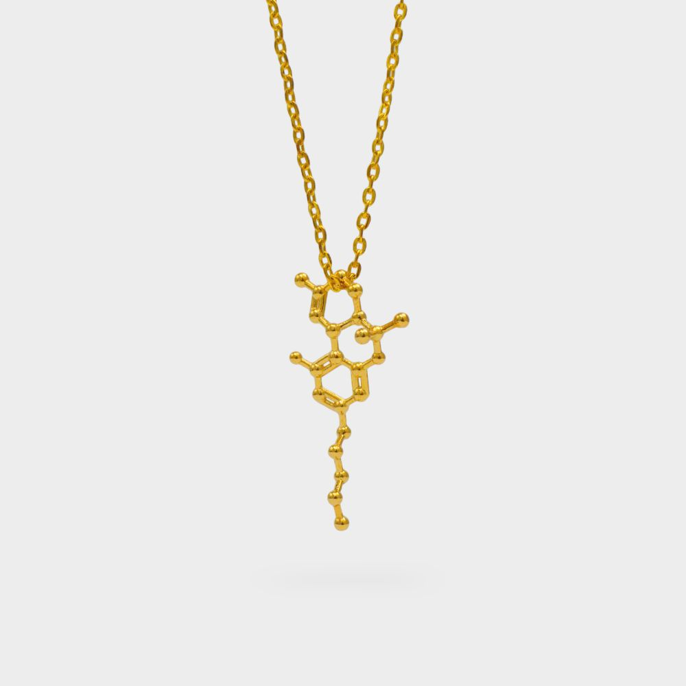 THC Molecule Necklace 3D Gold