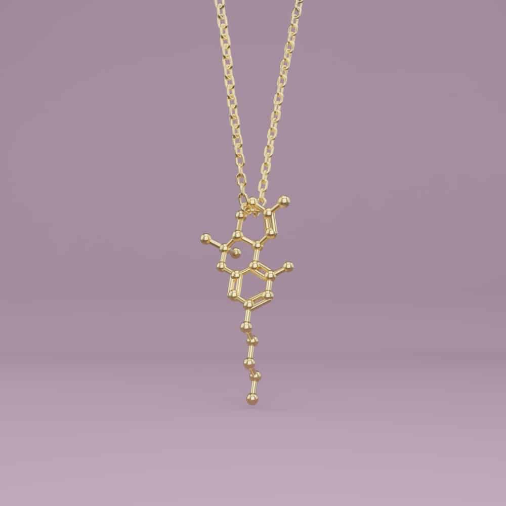 Cannabis, Weed THC Molecule Necklace 3D
