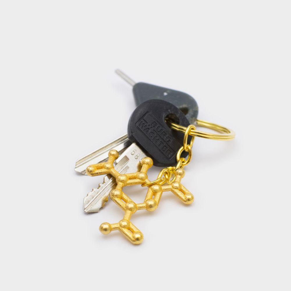 TNT Molecule Keychain 3D Gold Steel