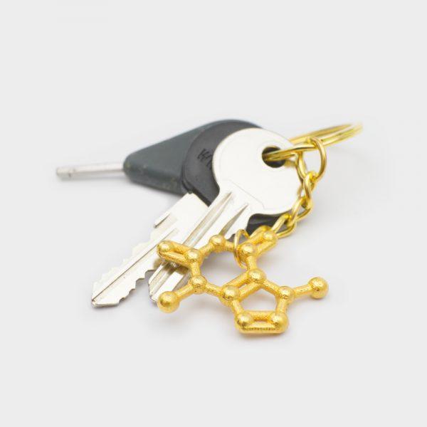 Theobromine Molecule Keychain 3D Gold Steel