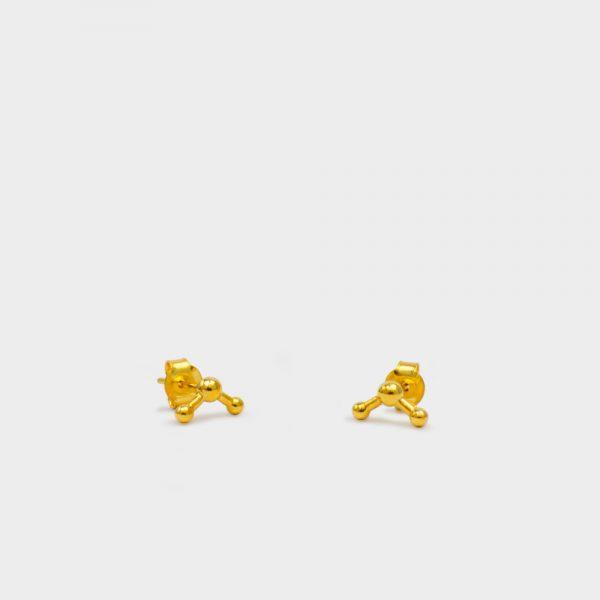 Water Molecule Earrings 18k Gold