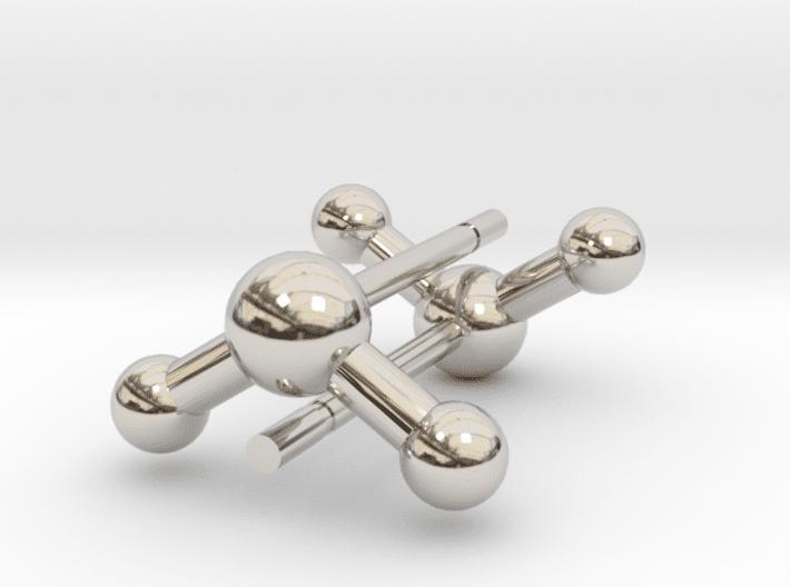 Water Molecule Earrings Rhodium Plated