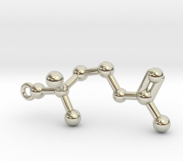Acetylcholine Molecule Necklace 14k White Gold