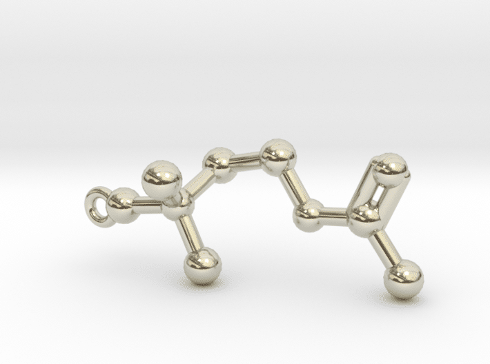 Acetylcholine Molecule Necklace 14k White Gold