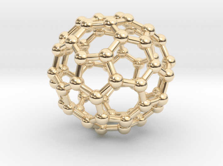Buckyball (C60) Molecule Necklace 14k Gold