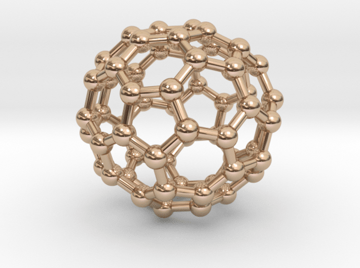 Buckyball (C60) Molecule Necklace 14k Rose Gold