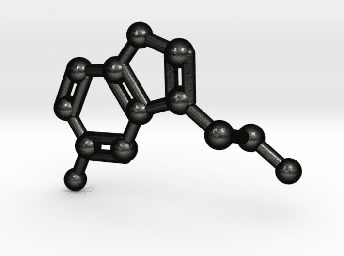 Serotonin Molecule Keychain Matte Black Steel