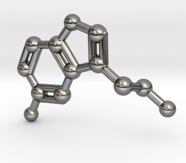 Serotonin Molecule Necklace Sterling Silver