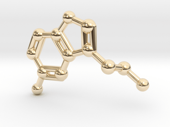 Serotonin Molecule Necklace 14k Gold