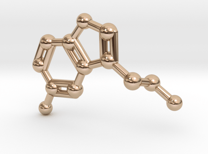 Serotonin Molecule Necklace 14k Rose Gold
