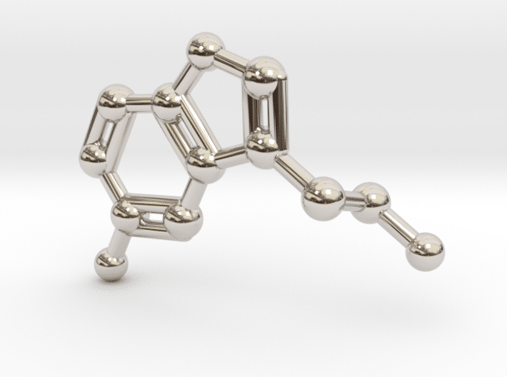Serotonin Molecule Necklace Rhodium Plated
