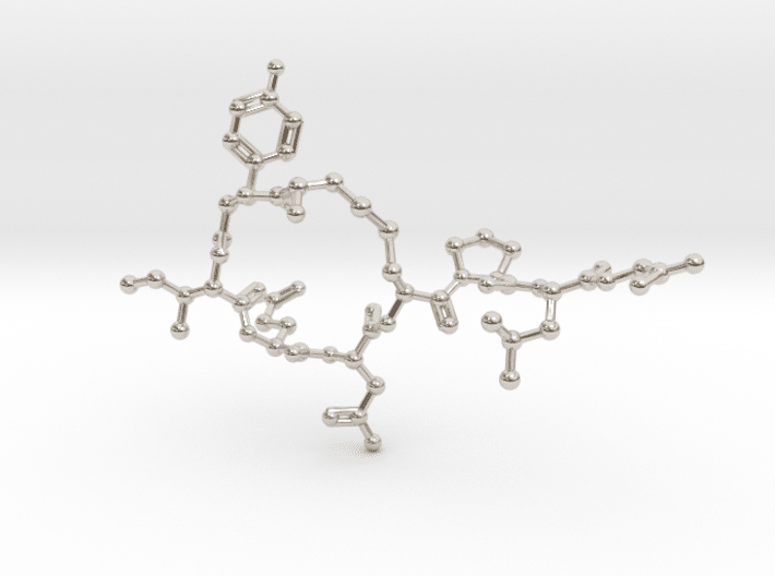 Oxytocin Molecule Necklace Rhodium Plated