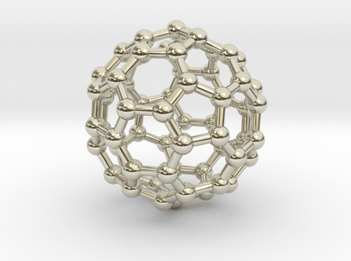 Buckyball (C60) Molecule Necklace 14k White Gold