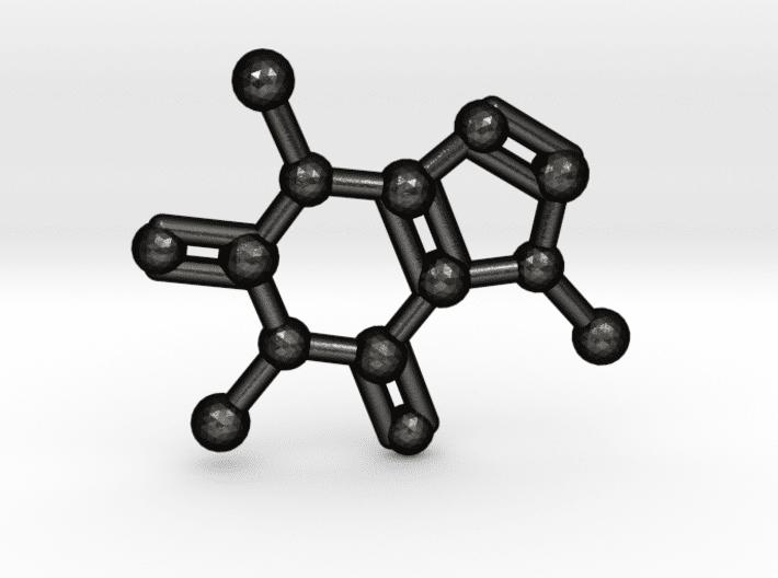 Caffeine Molecule Keychain Matte Black Steel