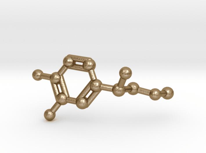 Adrenaline Molecule Keychain Polished Gold Steel