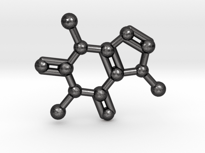 Caffeine Molecule Keychain Polished Grey Steel