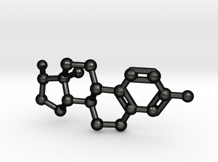 Estrogen Molecule Keychain Matte Black Steel