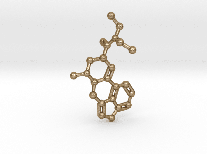 LSD Molecule Keychain Polished Gold Steel