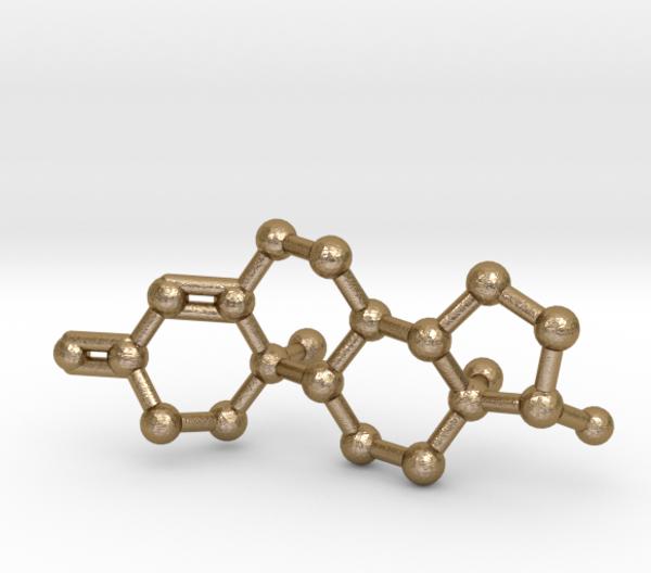 Testosterone Molecule Keychain in Polished Gold Steel
