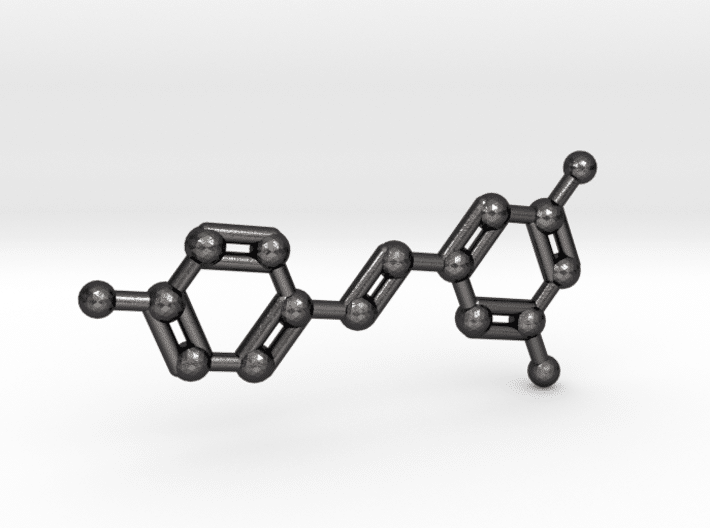 Resveratrol Molecule Keychain in Polished Grey Steel