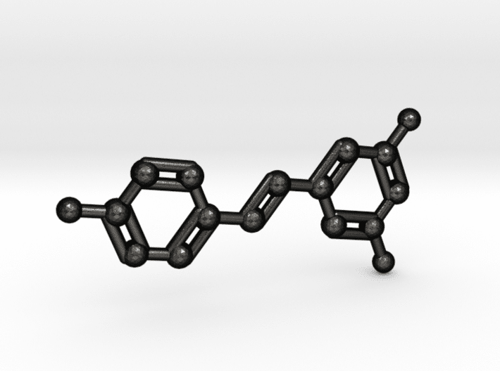 Resveratrol Molecule Keychain in Matte Black Steel