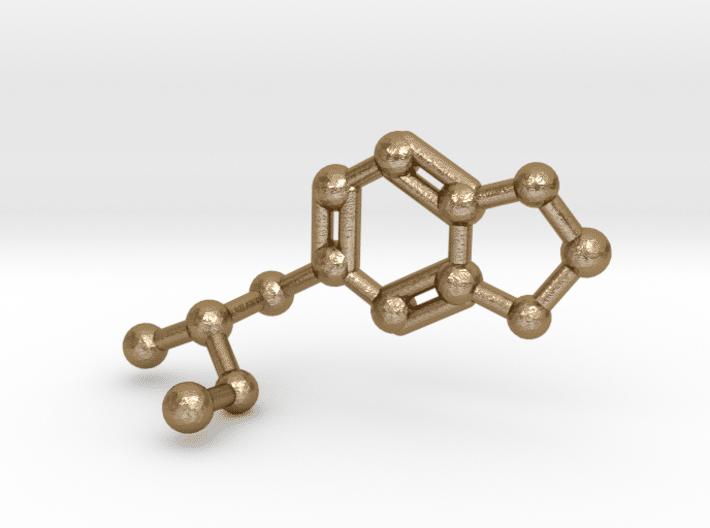 MDMA Molecule Keychain Polished Gold Steel