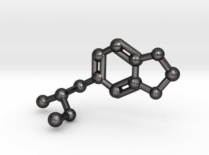 MDMA Molecule Keychain Polished Grey Steel