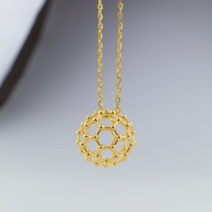 C60 buckyball necklace gold front