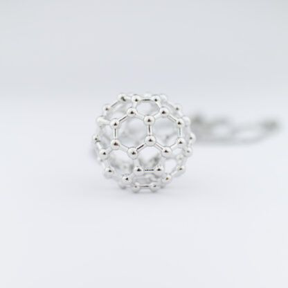 C60 buckyball necklace silver front