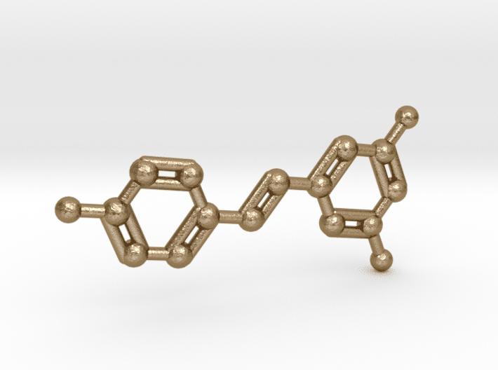 Resveratrol Molecule Keychain Polished Gold Steel