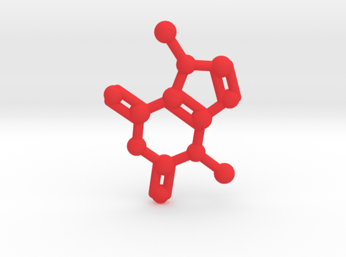 Theobromine Molecule Red Plastic