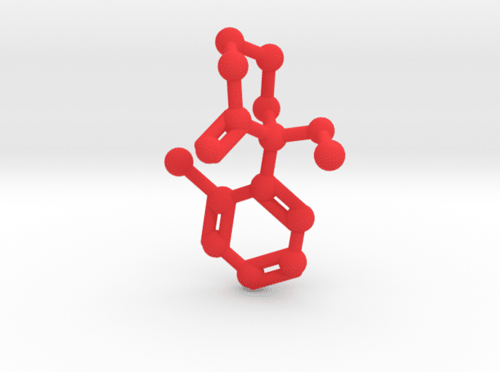 Ketamine Molecule Red Plastic
