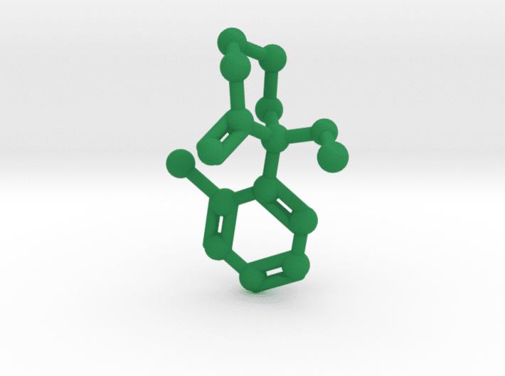 Ketamine Molecule Green Plastic