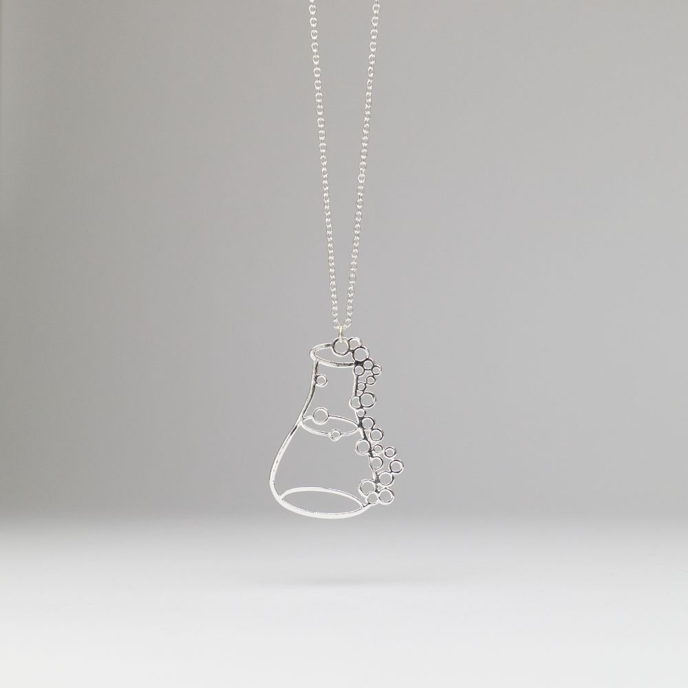 Erlenmeyer Flask Necklace Silver Internet