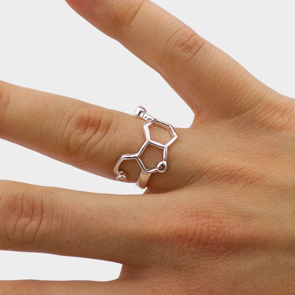 Serotonin Molecule Ring Hand Silver