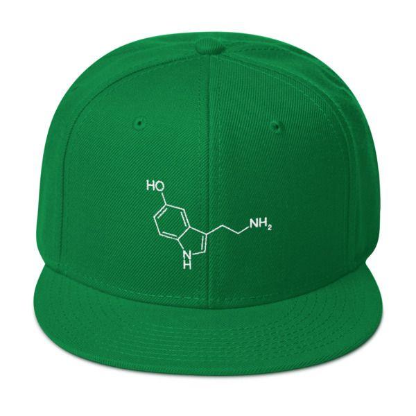 Serotonin Molecule Cap Snapback Green
