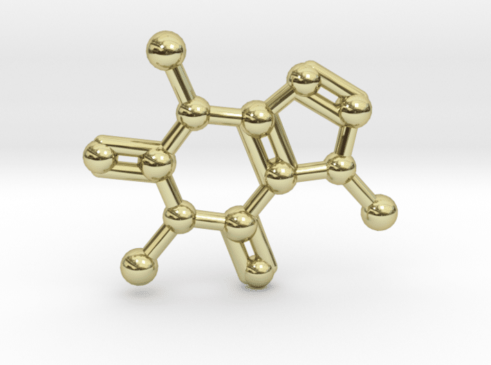 Caffeine Molecule Necklace 14 k Gold