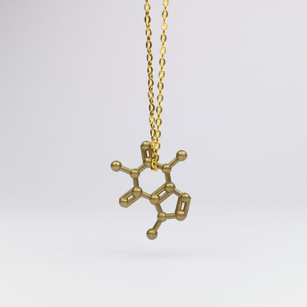 Caffeine (coffee) molecule necklace 3D raw brass