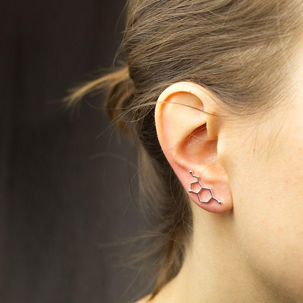 Serotonin Molecule Ear Crawler Earring Silver Model