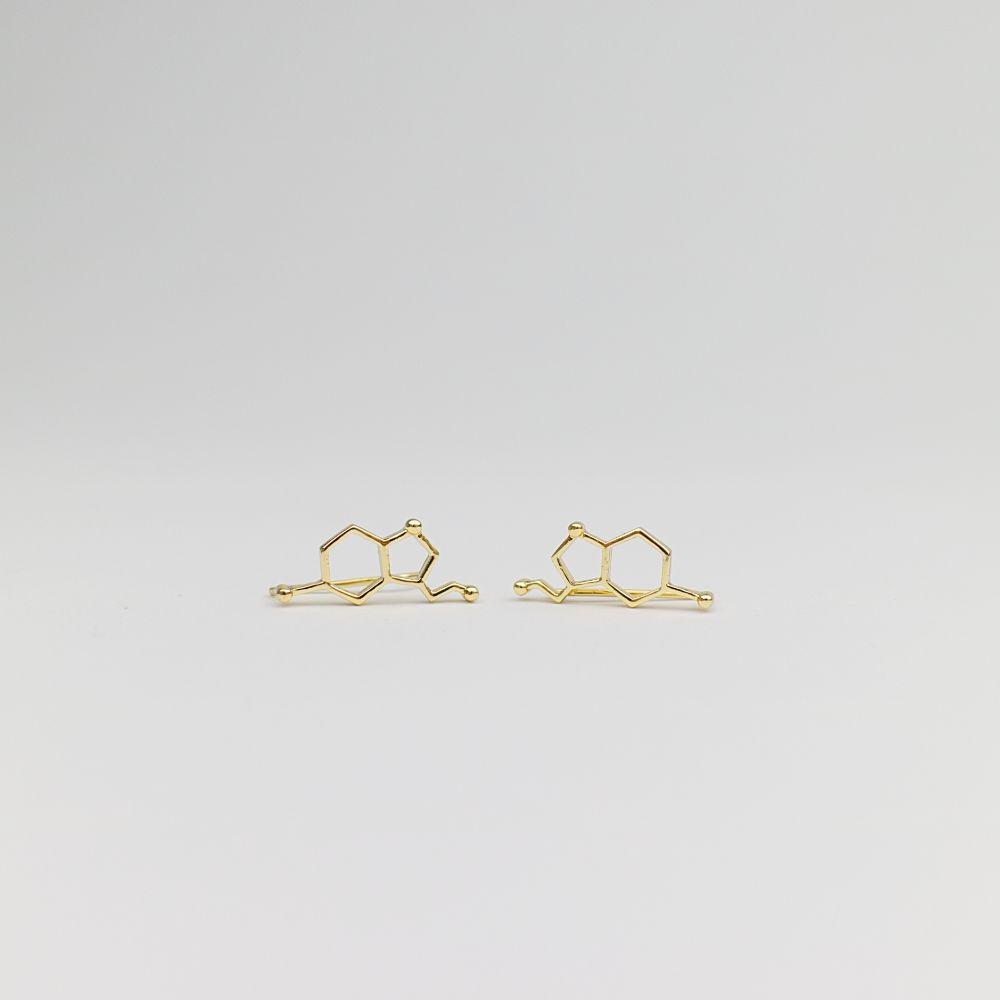 Serotonin Molecule Ear Crawler Earrings Gold