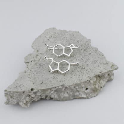 Serotonin Molecule Earrings Silver Concrete